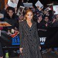"""Jennifer Lopez arrive à l'émission """"The late show"""" à New York, le 20 janvier 2015"""