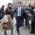 """Miroslava Duma (Mira Duma) - Arrivées au défilé de mode """"Giambattista Valli"""", collection prêt-à-porter automne-hiver 2015/2016, à Paris. Le 9 mars 2015"""