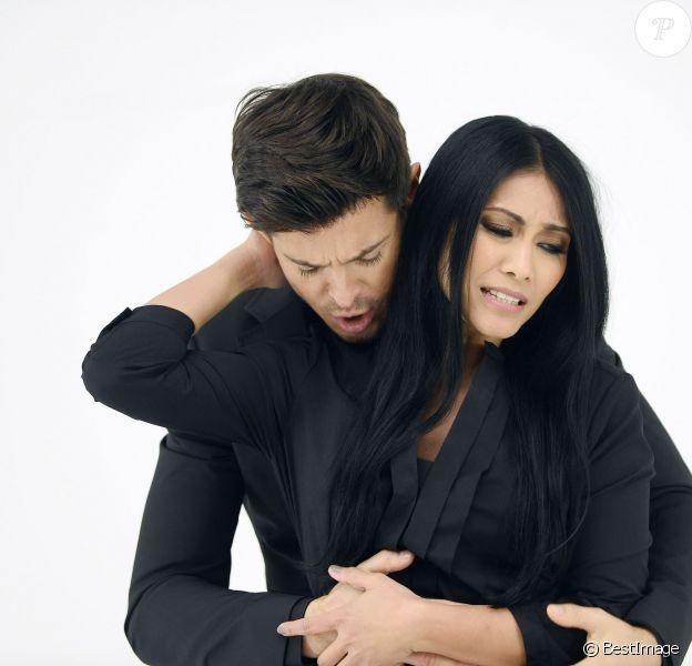 """Exclusif - Anggun et Vincent Niclo - Tournage du clip de la chanson """"Pour une fois"""", le 11 mars 2015."""