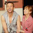 """Exclusif - Franck Le Hen, Pétronille Moss - Générale de la pièce de théâtre """"La famille est dans le pré"""" au théâtre Edgar à Paris le 16 mars 2015."""
