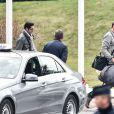 Alain Bernard lors de son retour d'Argentine, le 14 mars 2015 à l'aéroport Roissy-Charles-de-Gaulle après l'accident survenur sur le tournage de Dropped