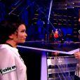 Manon Palmer, Amélie Piovoso et Sweet Jane dans The Voice 4 sur TF1, le 28 mars 2015.