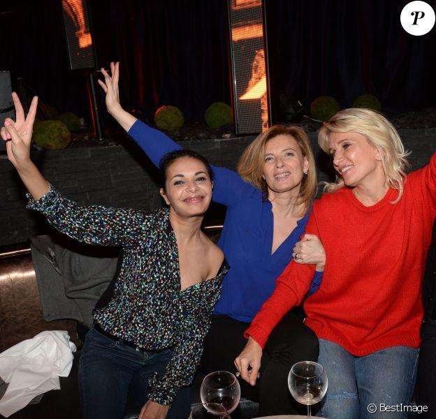 Exclusif - Saïda Jawad, Valérie Trierweiler et Sophie Albou, créatrice de la marque Paul & Joe à la soirée Ladies du jeudi à l'Arc à Paris, le 19 mars 2015.