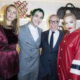 Rita Ora, Olivia Palermo, Tommy Hilfiger et Behati Prinsloo lors de l'Inauguration de la boutique Tommy Hilfiger Bd des Capucines à Paris le 31 mars 2015.
