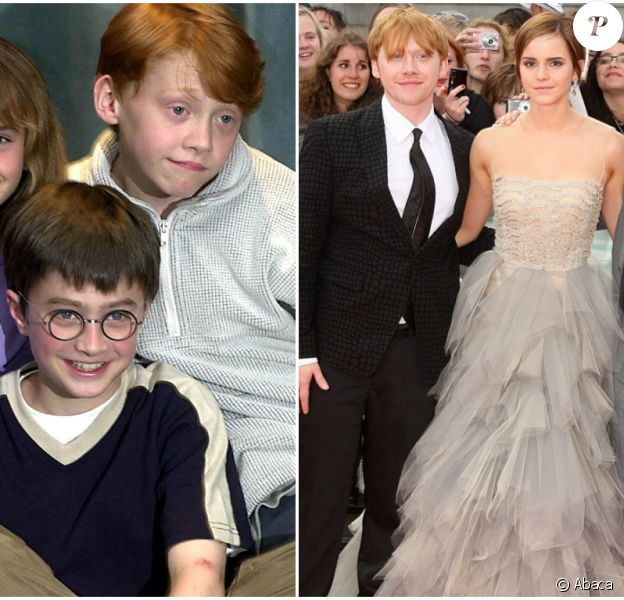 Daniel Radcliff / Emma Watson / Rupert Grint Le trio en 2000 / Le trio en 2011