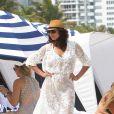 Lilly Becker, sur la plage de l'hôtel Marriott de Miami, le 12 avril 2015
