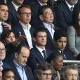 Anne Hidalgo, Manuel Valls, Nasser Al-Khelaïfi, Nicolas Sarkozy lors de la rencontre entre le Paris Saint-Germain et le FC Barcelone en quart de finale de la Ligue des champions, le 15 avril 2015 au Parc des Princes à Paris