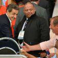 Nicolas Sarkozy lors de la rencontre entre le Paris Saint-Germain et le FC Barcelone en quart de finale de la Ligue des champions, le 15 avril 2015 au Parc des Princes à Paris