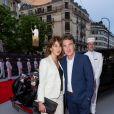 """François Cluzet et sa femme Narjiss - Inauguration de l'hôtel """"The Peninsula"""" à Paris le 16 avril 2015."""