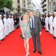 """Nelson Montfort et sa fille Victoria - Inauguration de l'hôtel """"The Peninsula"""" à Paris le 16 avril 2015."""