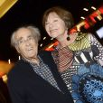 Michel Legrand et sa femme Macha Méril, au spectacle de Chevallier et Laspalès  Vous reprendrez bien quelques sketches ?  à l'Olympia, le jeudi 23 avril 2015.