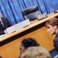 Carla Bruni lors de la conférence de presse de Nicolas Sarkozy aux Nations Unies