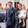 La princesse Madeleine de Suède, son mari Chris O'Neill et leur fille la princesse Leonore rencontrait le 27 avril 2015 le pape François au Vatican.