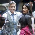 """George Clooney, Amal Clooney et Julia Roberts sur le tournage du film """" Money Monster """" de Jodie Foster à New York Le 18 Avril 2015"""