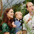 """Le prince George fête ses 1 an ce jour, le 22 juillet 2014. Cette photo officielle, qui montre le prince William, Kate Middleton (Catherine), la duchesse de Cambridge, et leur fils le prince George, a été prise pour l'occasion, le 2 juillet 2014, lors de la visite de l'exposition """"Sensational Butterflies"""" au Musée d'Histoire Naturelle à Londres."""