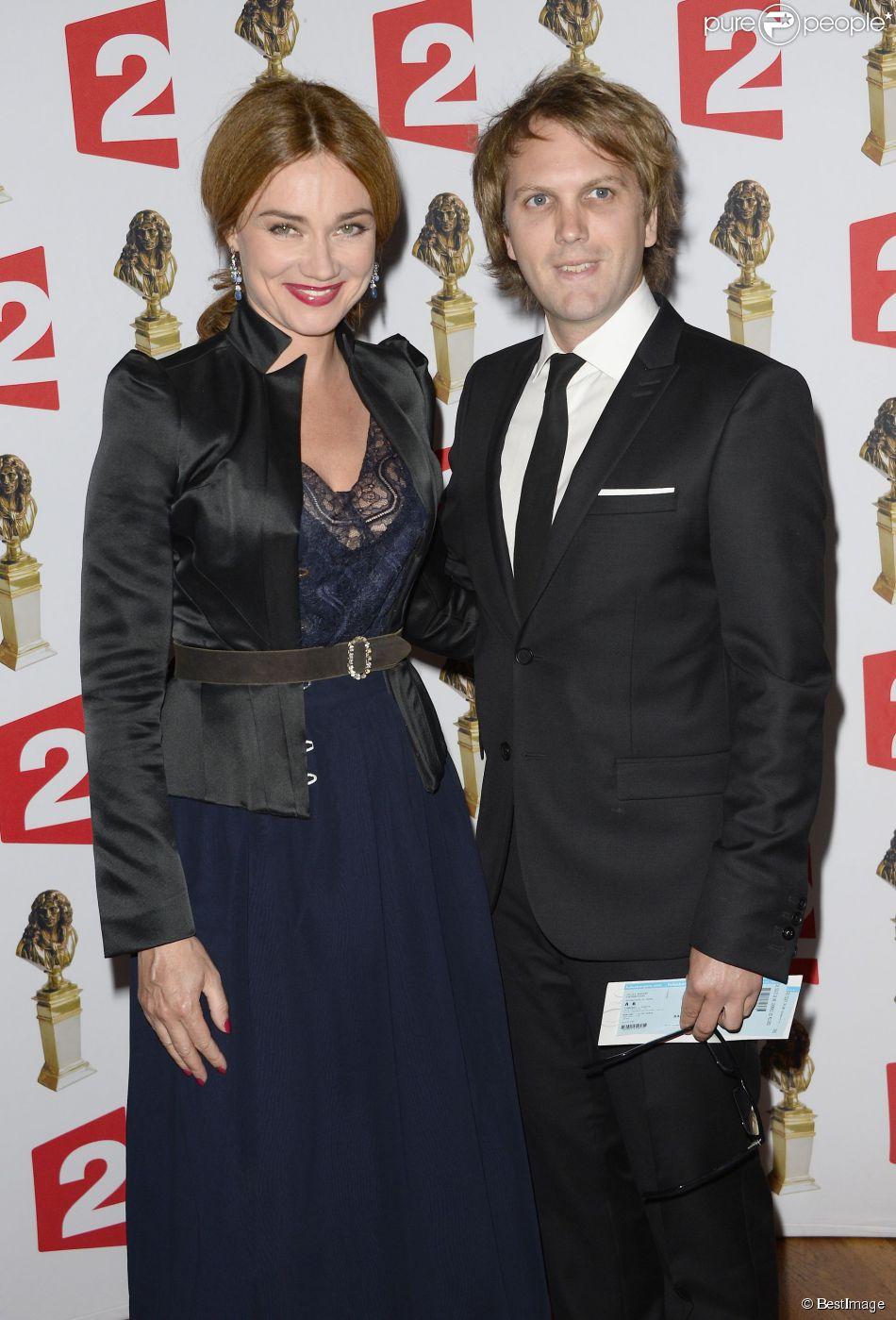 Marine Delterme et son mari Florian Zeller (prix du meilleur spectacle du théâtre privé) - La 26e nuit des Molières aux Folies Bergère à Paris, le 2 juin 2014.