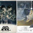 Montage des deux affiches, Magic Mike XXL parodiant La Guerre des Etoiles.