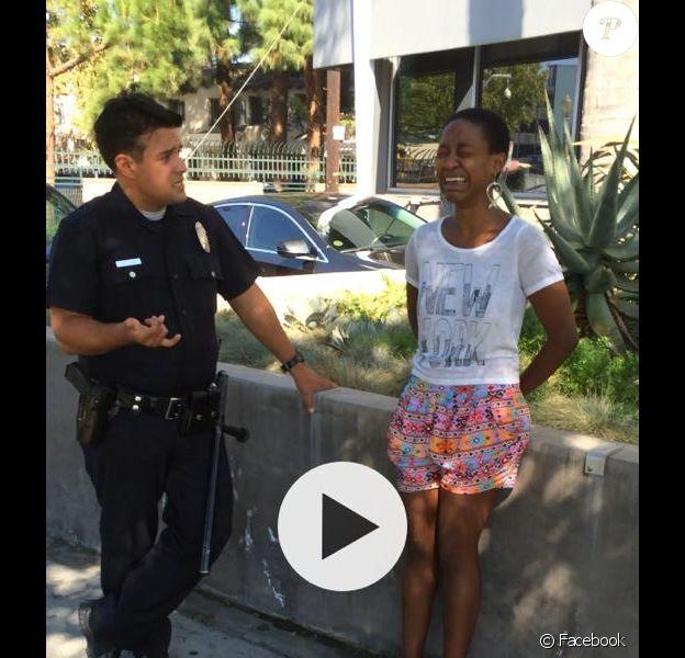 Danièle Watts lors de son arrestation par la police le 12 septembre 2014 à Studio City. Elle dit avoir été confondue avec une prostituée alors qu'elle embrassait simplement son mari.