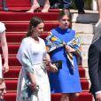 Pauline Ducruet et Camille Gottlieb - Baptême du prince héréditaire Jacques et de sa soeur la princesse Gabriella en la cathédrale Notre-Dame-Immaculée de Monaco le 10 mai 2015