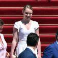 Alexandra de Hanovre - Baptême du prince héréditaire Jacques et de sa soeur la princesse Gabriella en la cathédrale Notre-Dame-Immaculée de Monaco le 10 mai 2015