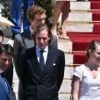 Pierre Casiraghi, Andrea Casiraghi, Alexandra de Hanovre - Baptême du prince héréditaire Jacques et de sa soeur la princesse Gabriella en la cathédrale Notre-Dame-Immaculée de Monaco le 10 mai 2015
