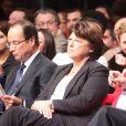 Francois Hollande, Martine Aubry, Manuel Valls, Julie Gayet - Convention d'investiture de Francois Hollande pour l'élection présidentielle de 2012 à la Halle Freyssinet à Paris, le 22 octobre 2011