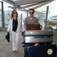 Les jeunes mariés Geri Halliwell et Christian Horner arrivent à l'aéroport de Heathrow en partance pour Cannes, le 16 mai 2015