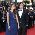 """Nikki Reed ( robe bleue collection Haute Couture Azzaro Eté 2015)  et son mari Ian Somerhalder (smoking noir Azzaro) - Montée des marches du film """"Youth"""" lors du 68e Festival International du Film de Cannes, le 20 mai 2015."""