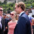 Gareth Wittstock, le frère de la princesse Charlene, Pierre Casiraghi et sa fiancée Beatrice Borromeo dans le paddock du Grand Prix de Monaco durant les essais du 23 mai 2015
