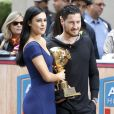 "Rumer Willis et Val Chmerkovskiy enregistrent en live l'émission de télévision ""Access Hollywood Live"" à New York, le 3 juin 2015 après avoir remporté la 20ème saison de ""Dancing With The Stars""."
