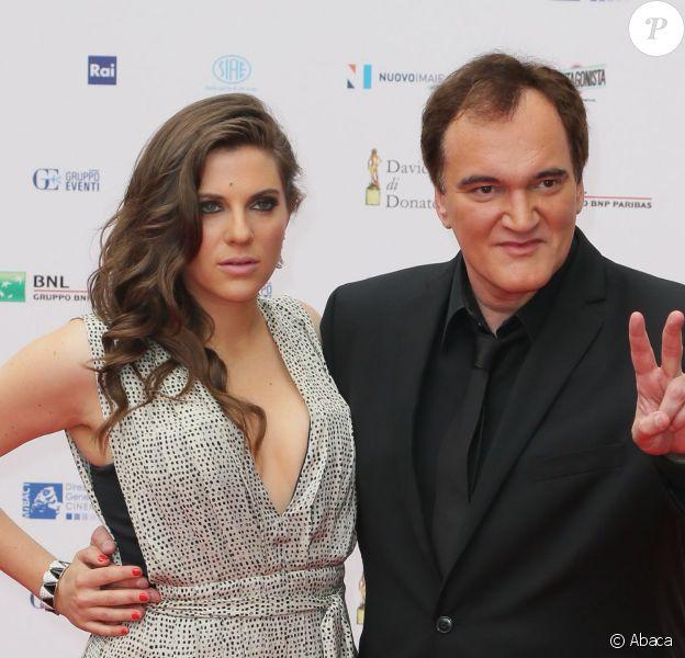 Courtney Hoffman et son compagnon Quentin Tarantino aux David di Donatello Awards à Rome, le 12 juin 2015.