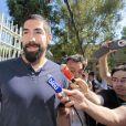Nikola Karabatic au premier jour du procès des paris suspects et du supposé match de handball truqué au tribunal correctionnel de Montpellier le 15 juin 2015