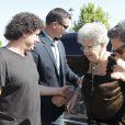 Pilar Bardem (la mère de Javier Bardem) - La famille et les amis d'Eduardo Cruz arrivent au funérarium de Madrid, le 19 juin 2015. Le père de Penelope et de Monica Cruz, Eduardo Cruz est décédé hier.