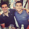 Alex Goude et son compagnon Romain à Roland Garros. Juin 2015.