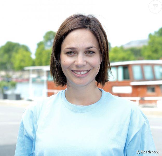 Nathalie Péchalat sur les quais de Seine à Paris le 23 juin 2015 à l'occasion de la candidature de la France à l'organisation des Jeux olympiques de 2024