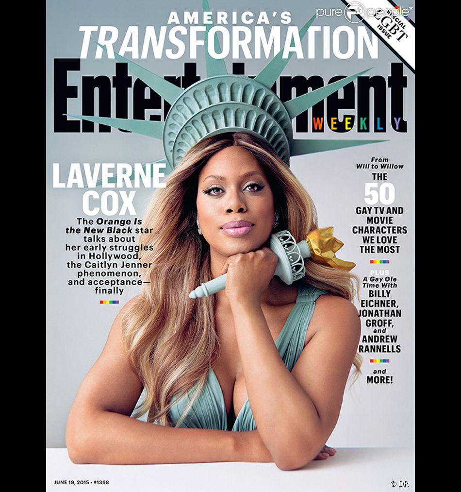 Laverne Cox en couverture d'Entertainment Weekly, juin 2015. L'actrice interprète Sophia Burset dans Orange is the New Black. Les 3 saisons sont  disponibles sur Netflix.