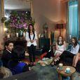 Exclusif - Le binôme Rosa et Alexandre dans la salle d'interview avec les prétendantes et Elsa Fayer, sur le tournage de l'émission  Qui veut épouser mon fils ?  saison 4, en février 2015.