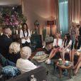 Exclusif - Le trio Yvette, Michaël et Jeanine dans la salle d'interview avec les prétendantes et Elsa Fayer, sur le tournage de l'émission  Qui veut épouser mon fils ?  saison 4, en février 2015.
