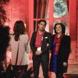 Exclusif - Elsa Fayer accueille le binôme Rosa et Alexandre dans la cour de la maison La Minotte, sur le tournage de l'émission  Qui veut épouser mon fils ?  saison 4, en février 2015.