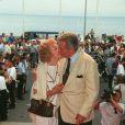 Patrick Macnee à Cannes en 1996 avec son épouse