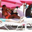Ludivine Sagna sur une plage de Miami, le 2 juillet 2015