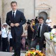 Nicolas Sarkozy et sa femme Carla Bruni-Sarkozy lors des obsèques de Charles Pasqua en la cathédrale Notre-Dame du Puy à Grasse, le 7 juillet 2015