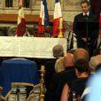 Nicolas Sarkozy lors des obsèques de Charles Pasqua en la cathédrale Notre-Dame du Puy à Grasse, le 7 juillet 2015