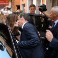 Nicolas Sarkozy et son épouse Carla Bruni-Sarkozy lors des obsèques de Charles Pasqua en la cathédrale Notre-Dame du Puy à Grasse, le 7 juillet 2015