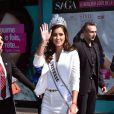 """Miss Univers 2014, la jolie Paulina Vega a présenté sa ligne de produits de beauté pour les cheveux """"Style Illuminate"""" dans la boutique Saga Cosmetics à Nice, le 19 mars 2015."""