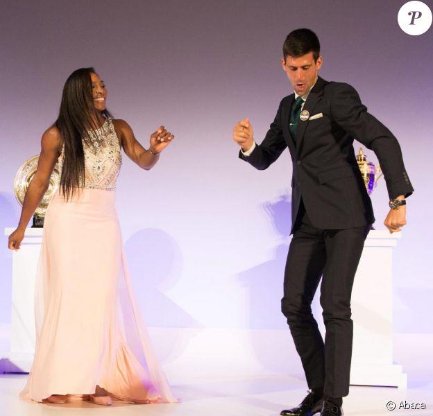 Novak Djokovic et Serena Williams lors du Dîner des Champions de Wimbledon au Guidlhall de la Cité de Londres, le 12 juillet 2015