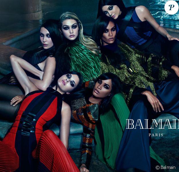 Campagne Balmain automne/hiver 2015-2016 (Joan et Erika Smalls, Kendall et Kylie Jenner, Bella et Gigi Hadid)