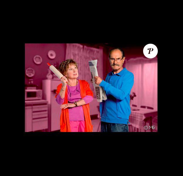 Marion Game et Gérard Hernandez, sur le tournage de Scènes de ménages.