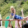 Miley Cyrus à Malibu sur le tournage de la série Hannah Montana, le 10 juillet 2008