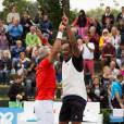 Yannick Noah et Mansour Bahrami lors de la sixième édition de l'Optima Open à Knokke en Belgique, le 15 août 2015.